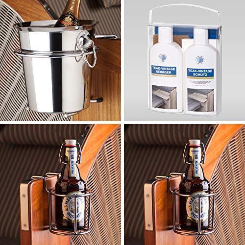 Strandkorbprofis Sparpaket 1 für Strandkorb, 1x Champagnerkühler, 2X Flaschenhalter, 1x Pflegeset Teak Vintage