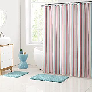 VCNY Home Shower Curtain and Bath Rugs Set, Polyester, Blue, 72x72