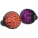 com-four® 2X Anti Stress Ball für Kinder und Erwachsene, Quetsch Ball im Netz, in Verschiedenen Farben [Auswahl variiert] (02 Stück - Farbmix 7 cm)