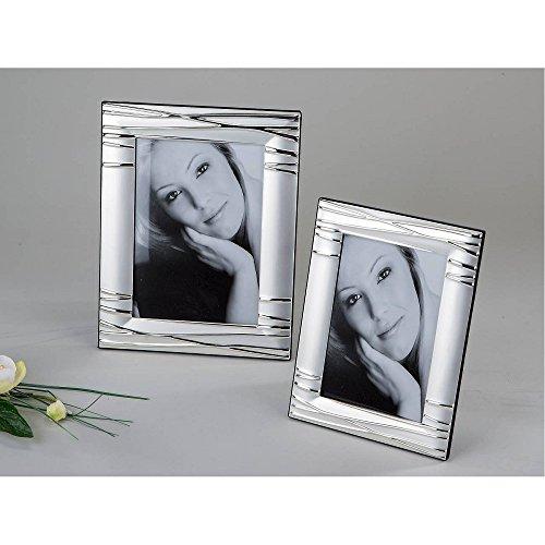Unbekannt 2er Set Fotorahmen, Bilderahmen Linien für 10x15cm + 13x18cm Silber Formano
