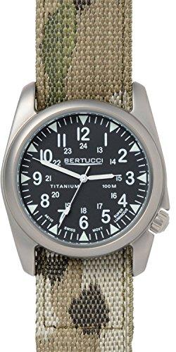 Bertucci 13442da uomo Swiss titanio Camoflauge Nylon Cinturino quadrante nero argento orologio