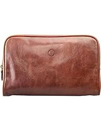Maxwell Scott Men's Sleek Real Leather Wash Bag - Raffaelle