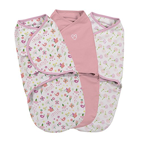 Summer Infant SWADDLE ME Original - Pucksack zum Wickeln von Babys - 0-3 M - Secret Garden (3er Pack) -