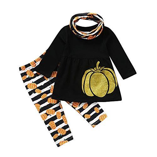 Romantic Halloween Kostüme Kinder Baby Mädchen Cosplay Kürbis Deko Kostüme Langarmshirt Top Bluse + Kürbis Gestreifte Hose Schwarz + Schlauchschal Kinder Mädchen 3er Set für Karneval Party