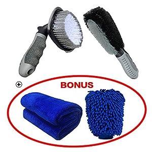 Reinigungsbürsten-Set für Autoreifen - Rad-Reinigungsbürste, Reifen- und Felgenschrubber, Bürste zur Reinigung von weichen Legierungen, Reifen, Reinigungswerkzeug und Handschuhe für Autoreifen