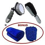 Meiso Set per la pulizia dell'auto composto da spazzole per pulizia dei cerchi e delle ruote, guanti e panno di pulizia