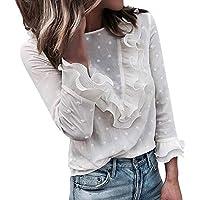 JiaMeng Casual Encaje Lunares O Cuello Camiseta Manga Larga Tops Blusa Camisetas de Manga Larga Suéter