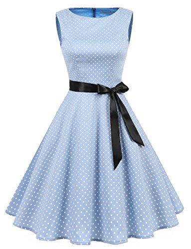 Gardenwed Damen Vintage 1950er Party Picnic Ärmellos Retro Cocktail Kleid Blue Small White Dot L (White-dot-kleid)