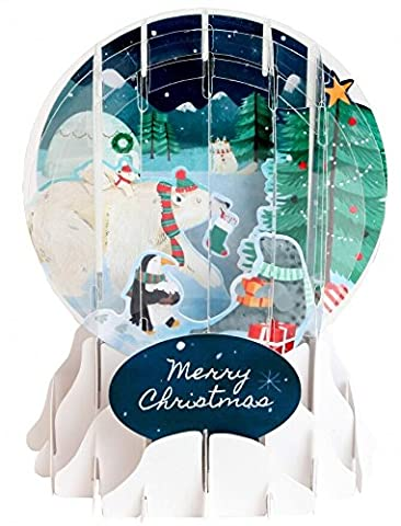 Pop Up 3D Weihnachten Schneekugel Grußkarte Arktis Tierwelt im Winter 9x13cm