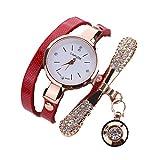 Ouneed® Uhren, Damen Leder Strass Analog Quarz Armbanduhren (Rot)