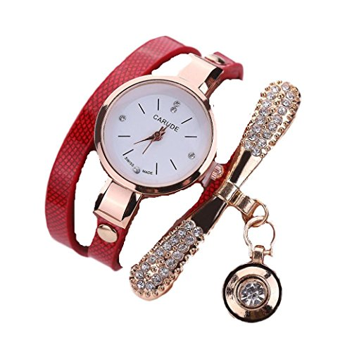 Ouneed Uhren, Damen Leder Strass Analog Quarz Armbanduhren (Rot)