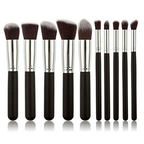 HENGSONG 10pcs Brosse de Maquillage de Brosse Poudre Contour Blush Correcteur Fondation Pinceaux Cosmétique Brosse Set Outils (Argent noir)