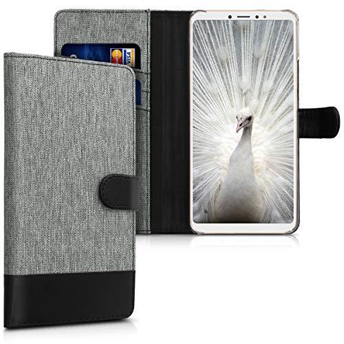 kwmobile Funda para Xiaomi Mi MAX 3 - Carcasa de Tela y [Cuero sintético] - con Tapa y [Tarjetero] [Gris/Negro]