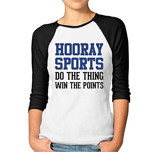 Ladies hooray sport baseball athletic maglietta maniche 3/4, donna, black