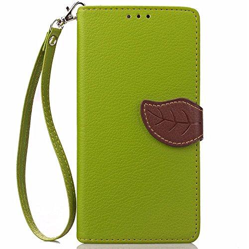 iPhone Case Cover Leaf magnétique TPU PU Housse en cuir Case Wallet Stand pour Apple iPhone 7 Plus 5.5 pouces ( Color : Red , Size : IPhone 7 Plus ) Green