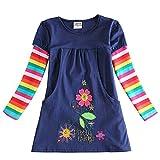 VIKITA Mädchen Blumen Langarm Baumwolle Kleid 2-8 Jahre H5802Blau 4T