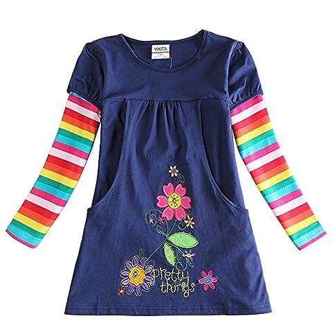 Neat Mädchen Blumen Langarm Baumwolle Kleid 2-8 Jahre H5802Blau 6T (Für Mädchen)