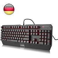 Mechanische Gaming Tastatur, LESHP Gaming Mechanical Keyboard | Anti-Ghosting | QWERTZ-Layout (DE) | Rot LED Hintergrundbeleuchtung | Anti-Rutsch-Standfüße | Aluminiumgehäuse