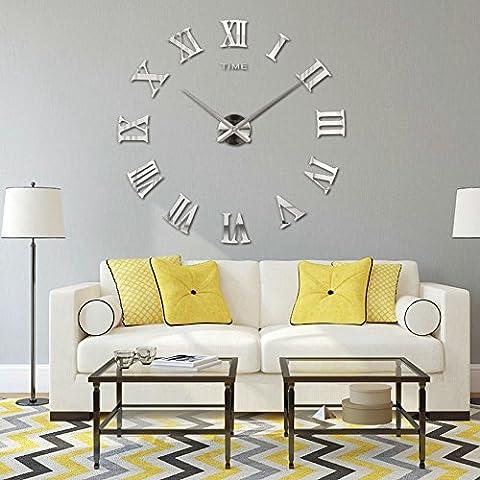 Aidudo Stille Leise Frankreich Paris Französischer Stil Römische Ziffer Design Wanduhr Uhr. (Silber)