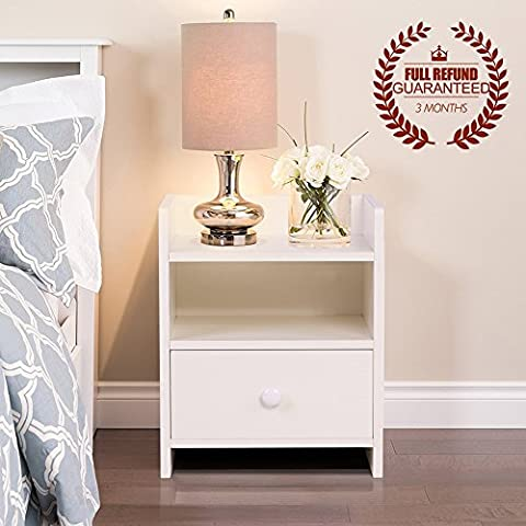 One Drawer Bedside Table, Wooden Side Table / Nightstand, White