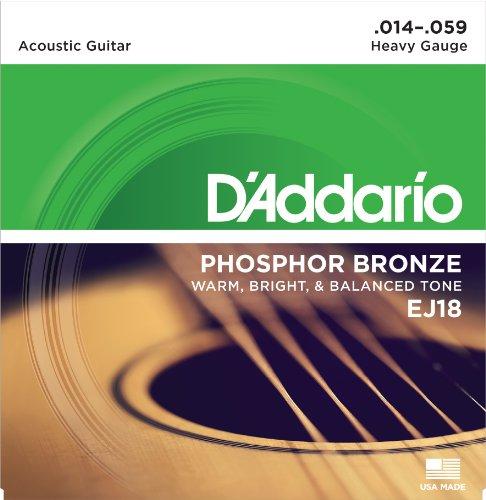 D\'Addario EJ18 Saitensatz für Akustik-Gitarren, Phosphor Bronze 0,035 cm - 0,15 cm (.014 - .059 Zoll)