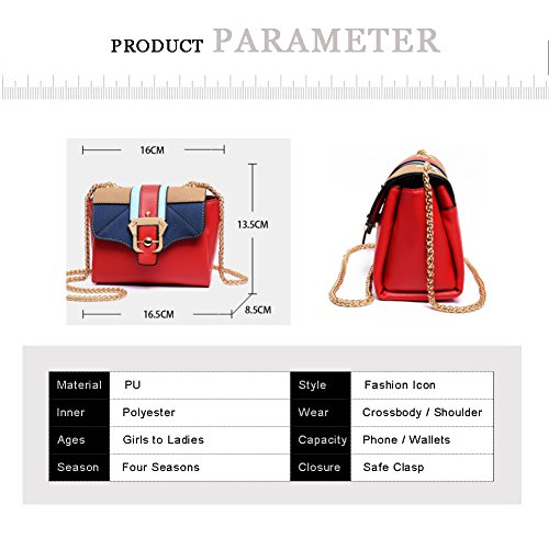 Borse a tracolla mini borsa a tracolla Yoome Contrast per ragazze Multi-tasca Borse per le donne - Nero Rosso