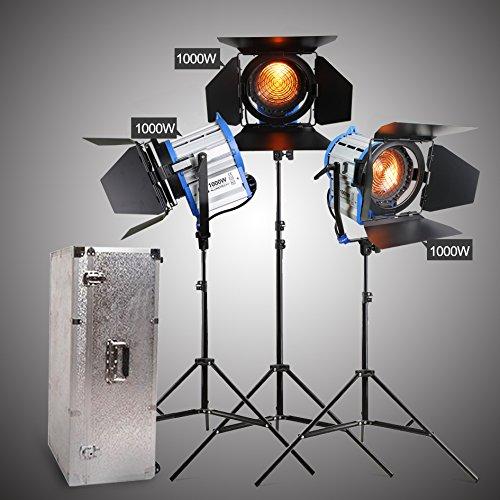 Alumotech Dimmer Built-in Fresno Tungsteno 3 x 1000 Vatios + 3 x Soporte acolchado de aire + Caja de aluminio 3000W Foco Lámpara halógena Kit de luz de vídeo de estudio para la cámara Iluminación fotográfica Bombilla compatible