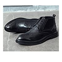 TONGDAUAE Brogue Boot for Men Ankle Shoes Lace Up Microfiber Leather Wingtip Carve Anti Slip Chic Classic Pointed Toe (Color : Black, Size : 47 EU)