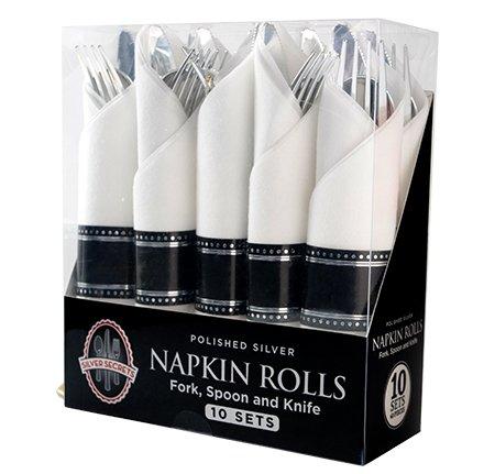 Elegant Plastic Cutlery Set - Cutlery Wrapped in Napkin/Serviette Set - Polished Silver Plastic Fork/Spoon/Knife - 10 Sets