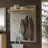 Pharao24 Wandgarderobe in Taupe Glas beschichtet Eiche Bianco