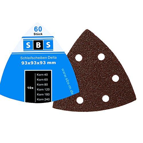 60 VELCRO SANDING TRIANGLES 93 X 93 X 93 MM GRAIN EACH 10 X 40/60/80/120/180/240 FOR TRI-BASE SANDER 6 HOLES BY SBS