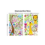 Anself Cartoon Leone sveglio del gufo giraffa DIY Wallpaper Art Decor Wall Stickers murale per bambini Child Camera Decal