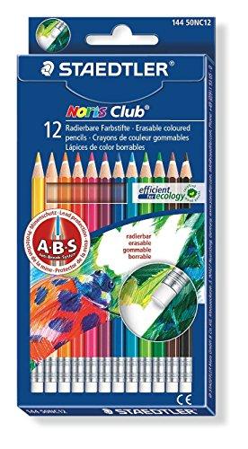 Staedtler 144 50NC12 Noris Club Farbstifte, radierbar, farbig sortiert, 12 Stück im Etui