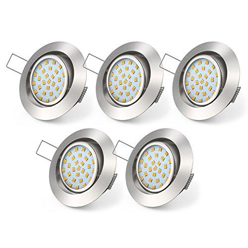 LED Einbauleuchte, Veelicht 5er Pack 4W LED Einbaustrahler, 450Lm, Warmweiß 3000K, AC 220-240V, LED Einbauspot, Deckeneinbaustrahler, Deckeneinbauspot, Schwenkbar
