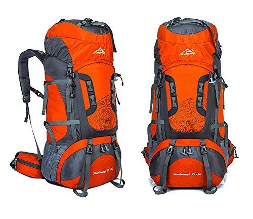 75L + 5L grande impermeabile di Camp Hike zaino da viaggio teengers alpinismo Climb Borse Pack per Uomini Donne , green Orange