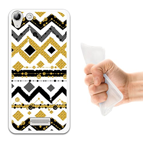 WoowCase Wiko Selfy 4G Hülle, Handyhülle Silikon für [ Wiko Selfy 4G ] Zickzack Tribal Schwarz Und Gold Handytasche Handy Cover Case Schutzhülle Flexible TPU - Transparent