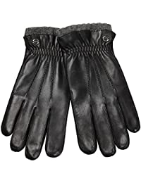 ELMA Men's Nappa Leather Winter Gloves Super Warm Cashmere Lining Elasticated Cuff