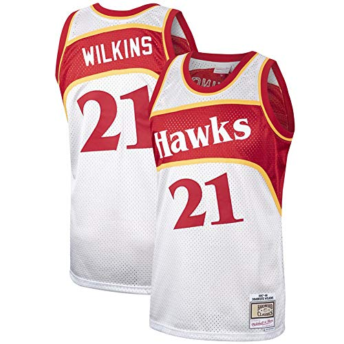HS-MANWEI Basketball-Sweatshirt Jersey Eagles 21 Wilkins New Fabric Bamboo Charcoal Atmungsaktiv Schnelltrocknendes Herren-Sweatshirt Für Erwachsene,White,L -