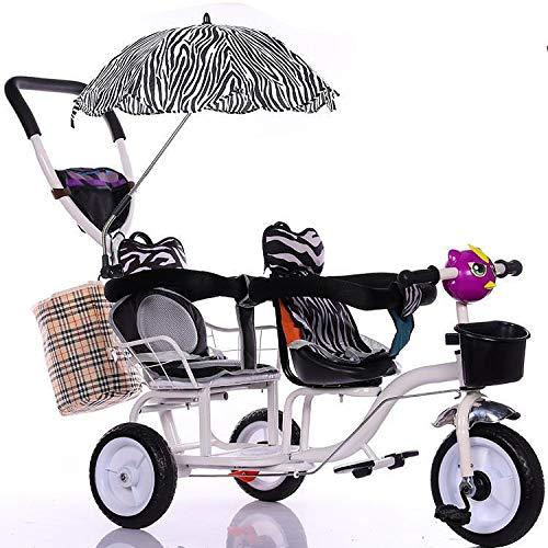 Doppeltes Kinder-Dreirad, Zwillingskinderwagen Mit Sonnenschirm, Kinderfahrrad Mit Doppeltem Geländer 1-6 Jahre Alt Geburtstagsgeschenk Für Kinder Kinderwagen Trikeload Gewicht 200 Kg Verfügbar