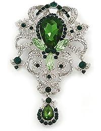 Declaración verde/CZ clara del encanto de cristal broche en rodio chapado - 11 cm, longitud de la