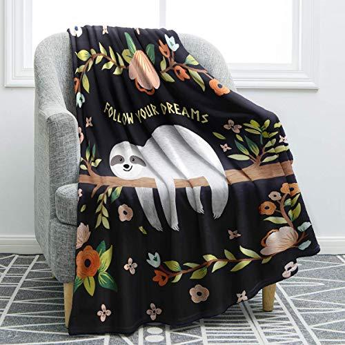 Jekeno Faultier Kuscheldecke/Decke Weich für Babys, Jungen, Mädchen, Sofa, Bett, Couch Outdoor, Camping, Reisen, 127 x 152 cm