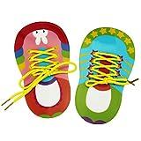 TOYMYTOY Fädelschuh Fädelspiel Schuhe Motorikspielzeug Binden Lernspiele Stifteköcher für Kinder Kleinkinder 2 Stücke (Blau und Rosa)