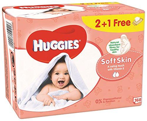 Huggies Soft Skin P3 - Toallitas bebé, 168 uds