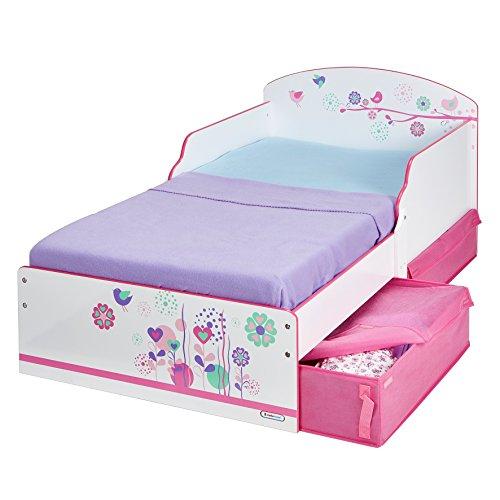 *Worlds Apart 516FLW Kinderbett mit Blumen und Schmetterlingen, mit praktischen Schubladen, MDF, Rosa/Blau*
