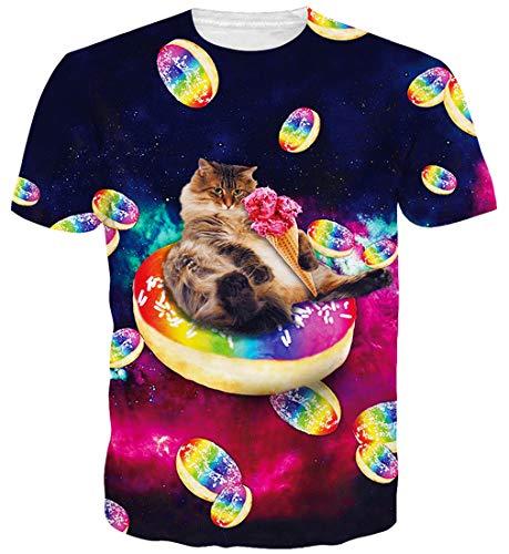 Goodstoworld 3D Katze Krapfen Print T Shirt Herren Damen Sommer Lustige Beiläufige Kurzarm Aufdruck T-Shirts Tee Top XL