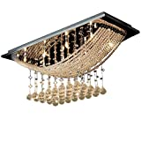 Saint Mossi® Lujo Moderno Gran Cristal Transparente Lámpara de Cristal Luminaria de Techo de Lámpara de Techo con Lámpara de Techo en Acabado Cromado Forma Cuadrada
