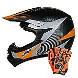 Leopard LEO-X19 *ECE 2205 Genehmigt* Kinderquad Kinder MX Motorradhelm Crosshelm Motocrosshelme Off Road Enduro Sport + Handschuhe - Orange L (53-54cm)