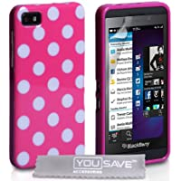 Yousave Accessories Polka Dot Silikon Gel Hülle für Blackberry Z10–Hot Pink