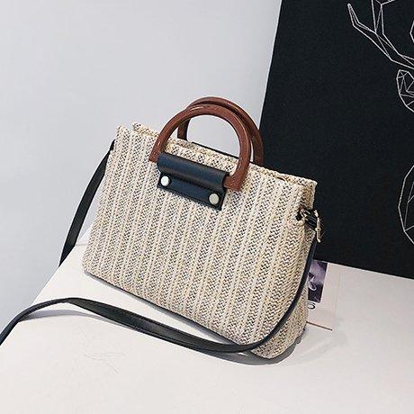 Haihuayan Handtasche Kleine Tasche Im Sommer, Handtasche, Umhängetasche, Handtaschen, Schulranzen, Stroh - Tasche,Licht Khaki. (Single-light-anhänger Große)