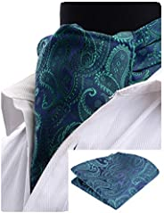 GUSLESON Men's Ascot Paisley Floral Jacquard Woven Gift Cravat Tie and Pocket Square